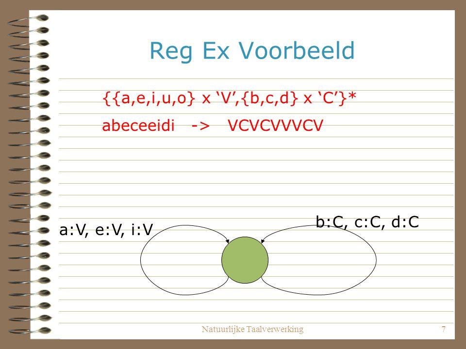 Natuurlijke Taalverwerking7 Reg Ex Voorbeeld {{a,e,i,u,o} x 'V',{b,c,d} x 'C'}* abeceeidi -> VCVCVVVCV a:V, e:V, i:V b:C, c:C, d:C