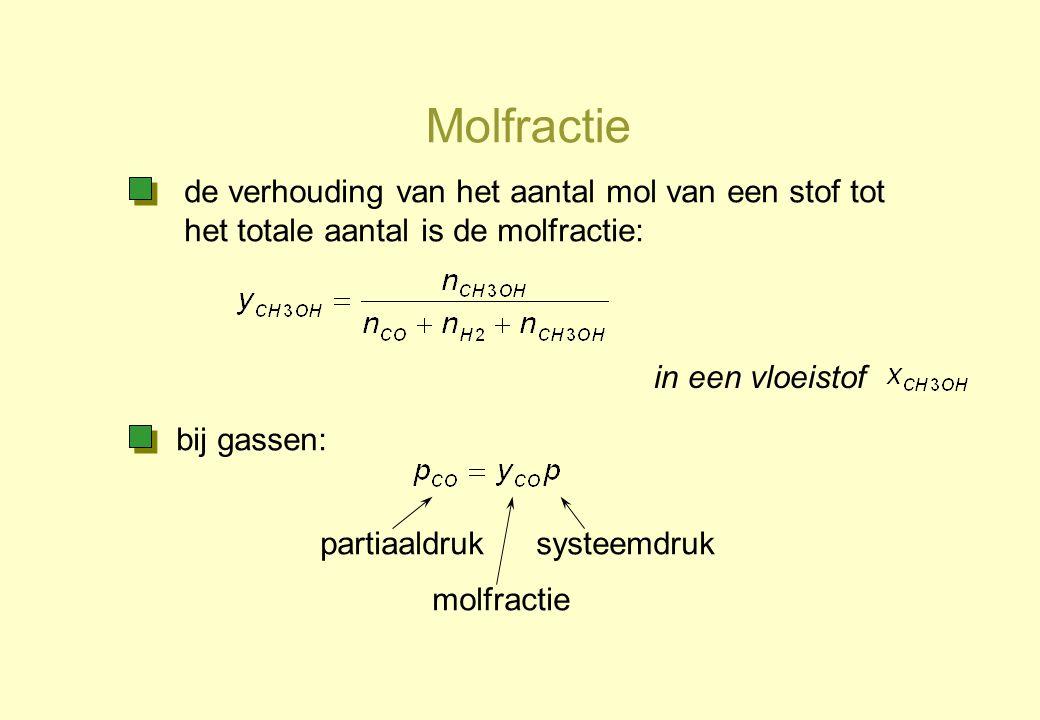 Molfractie partiaaldruk molfractie systeemdruk de verhouding van het aantal mol van een stof tot het totale aantal is de molfractie: in een vloeistof
