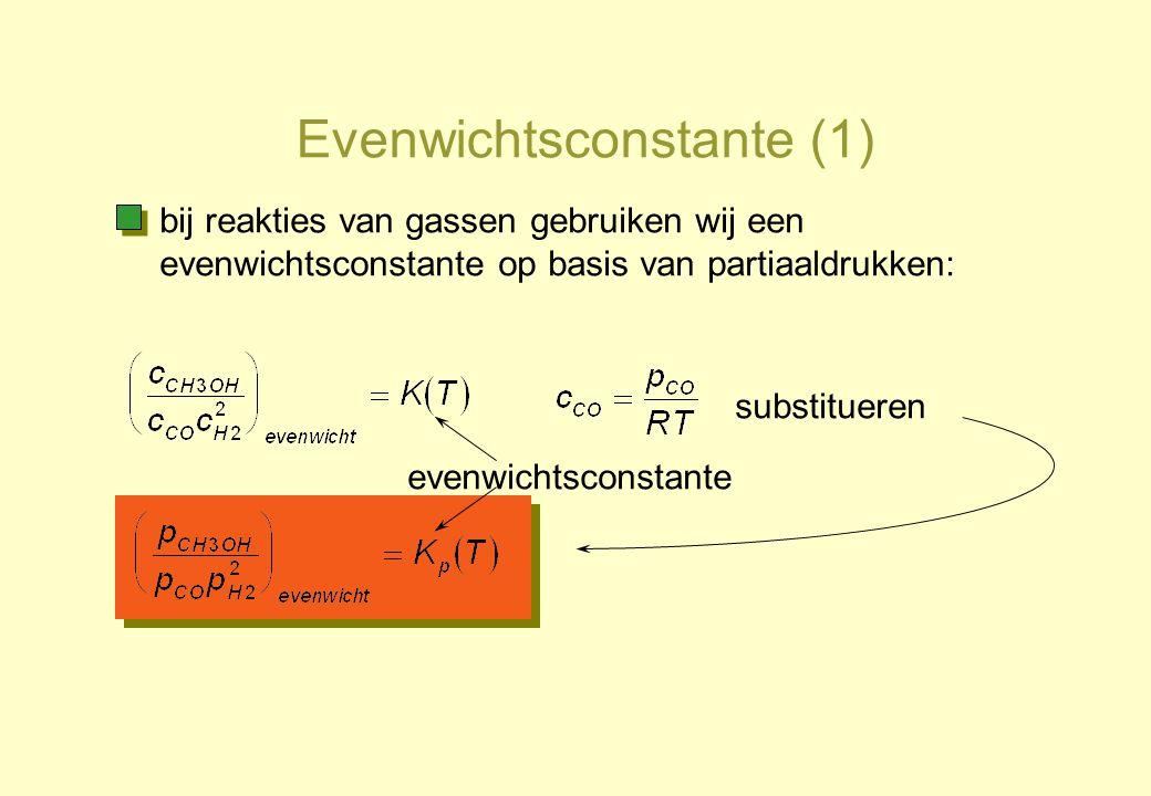 Evenwichtsconstante (1) evenwichtsconstante bij reakties van gassen gebruiken wij een evenwichtsconstante op basis van partiaaldrukken: substitueren