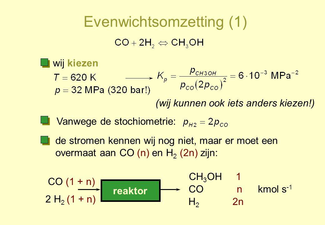 Evenwichtsomzetting (1) reaktor CO (1 + n) 2 H 2 (1 + n) CH 3 OH 1 CO n H 2 2n wij kiezen (wij kunnen ook iets anders kiezen!) de stromen kennen wij n