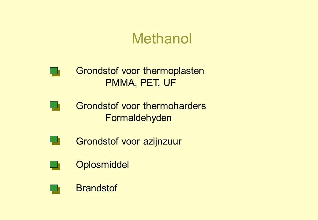 Methanol Grondstof voor thermoplasten PMMA, PET, UF Grondstof voor thermoharders Formaldehyden Grondstof voor azijnzuur Oplosmiddel Brandstof