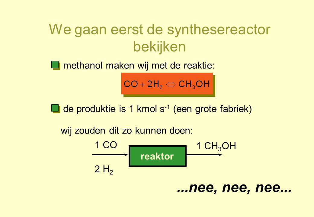 de produktie is 1 kmol s -1 (een grote fabriek) reaktor 1 CO 2 H 2 1 CH 3 OH...nee, nee, nee... methanol maken wij met de reaktie: wij zouden dit zo k