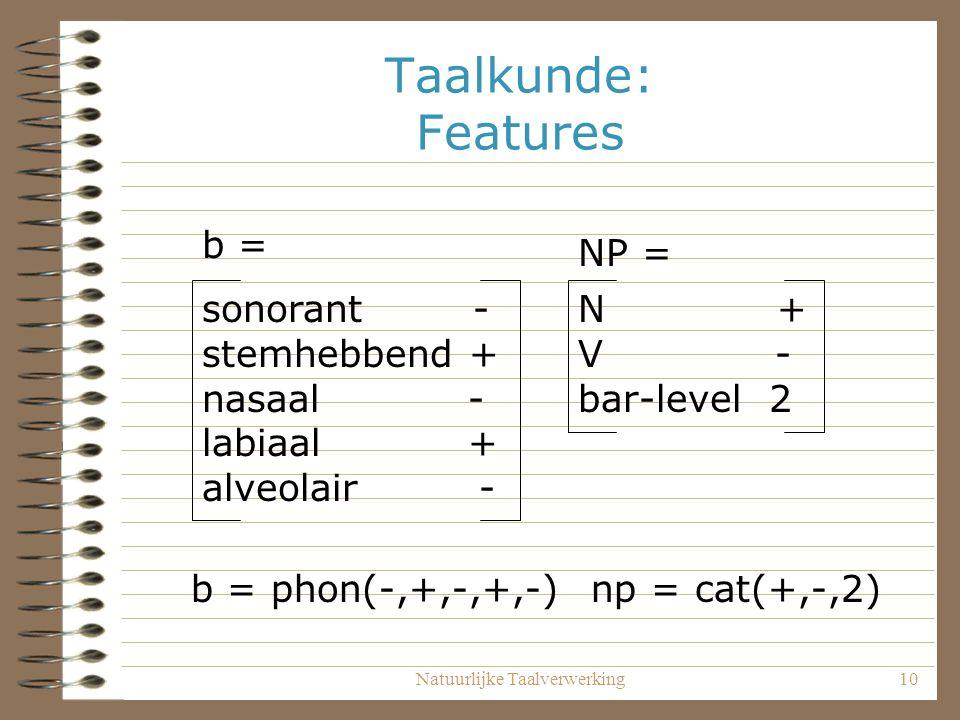 Natuurlijke Taalverwerking10 Taalkunde: Features sonorant - stemhebbend + nasaal - labiaal + alveolair - b = N + V - bar-level 2 NP = b = phon(-,+,-,+,-) np = cat(+,-,2)