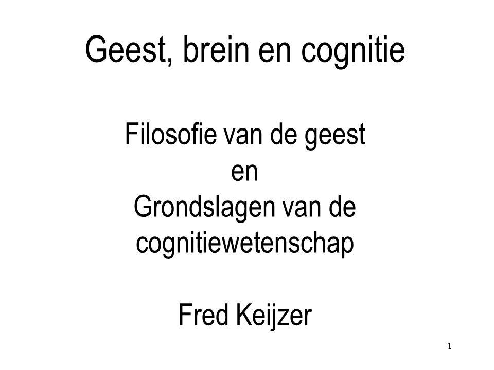 1 Geest, brein en cognitie Filosofie van de geest en Grondslagen van de cognitiewetenschap Fred Keijzer