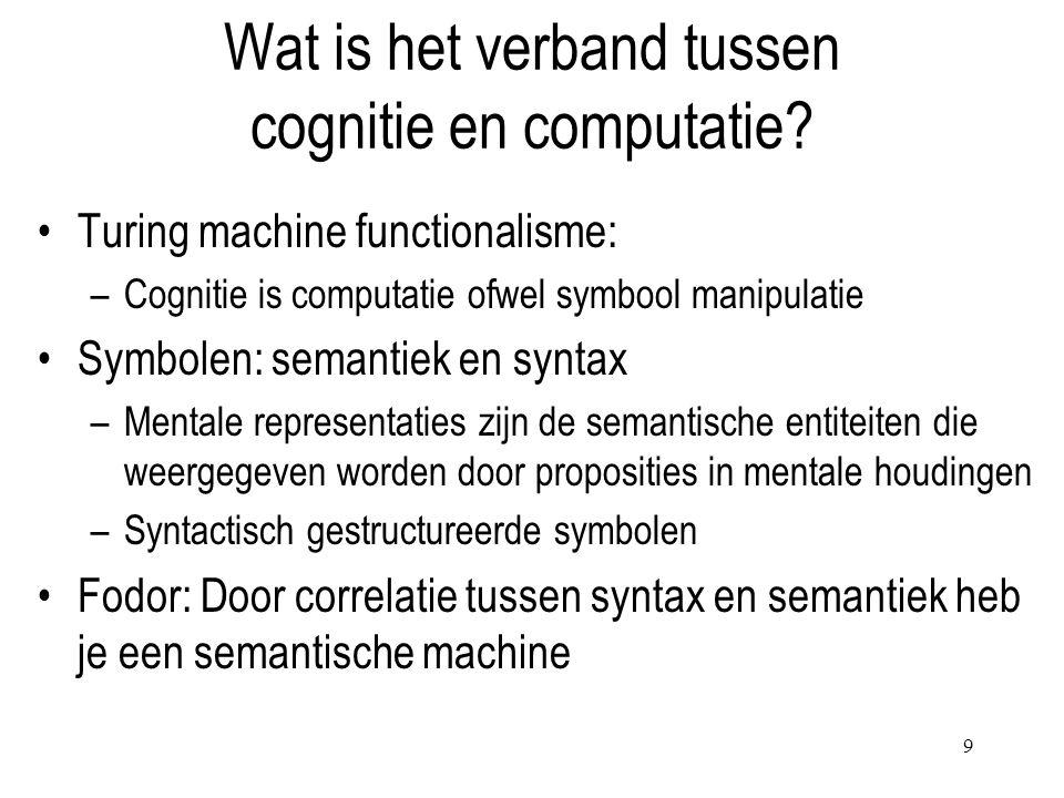 9 Wat is het verband tussen cognitie en computatie? Turing machine functionalisme: –Cognitie is computatie ofwel symbool manipulatie Symbolen: semanti
