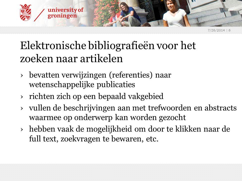 7/26/2014 | 6 Elektronische bibliografieën voor het zoeken naar artikelen ›bevatten verwijzingen (referenties) naar wetenschappelijke publicaties ›ric