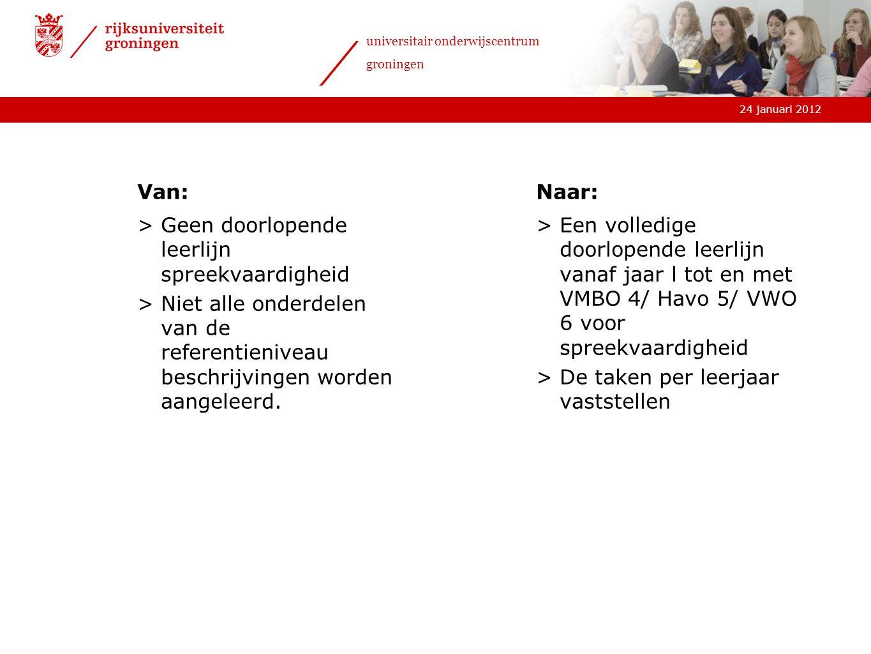 24 januari 2012 universitair onderwijscentrum groningen Van: >Geen doorlopende leerlijn spreekvaardigheid >Niet alle onderdelen van de referentieniveau beschrijvingen worden aangeleerd.