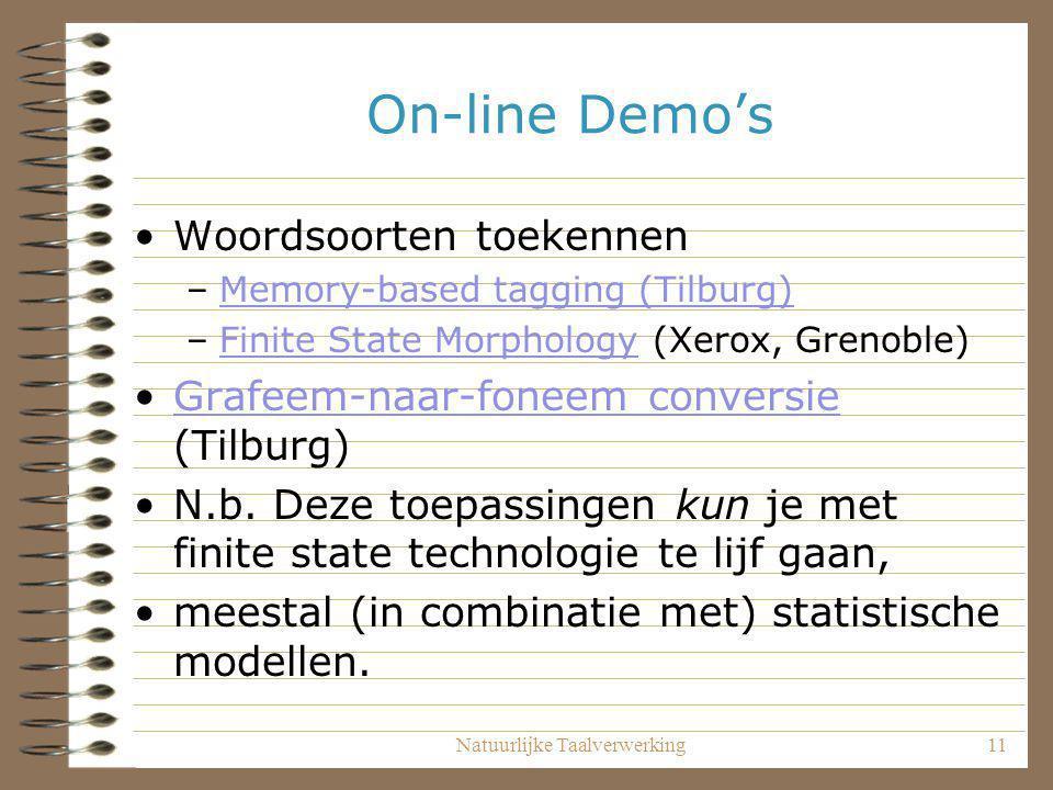 Natuurlijke Taalverwerking11 On-line Demo's Woordsoorten toekennen –Memory-based tagging (Tilburg)Memory-based tagging (Tilburg) –Finite State Morphol