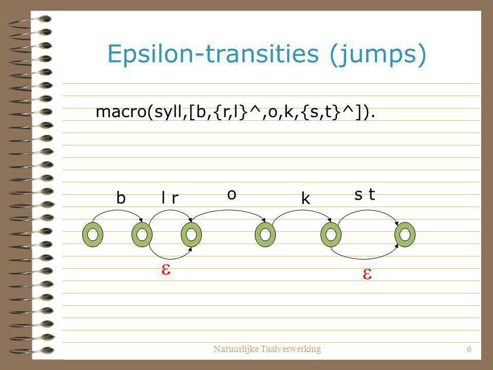 Natuurlijke Taalverwerking7 Deterministische automaten Een automaat is deterministisch wanneer je vanuit iedere toestand T voor ieder invoersymbool S hoogstens 1 transitie mogelijk is.
