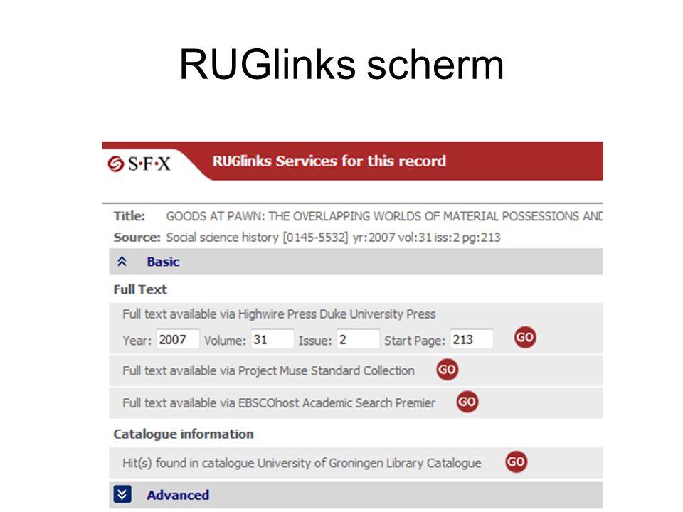 RUGlinks scherm