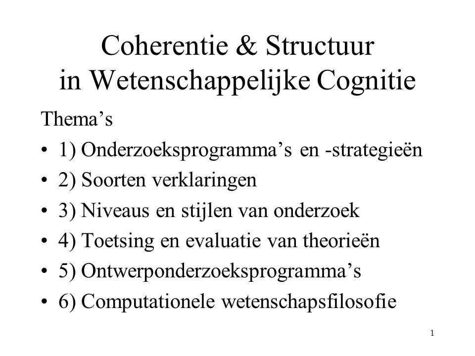 1 Coherentie & Structuur in Wetenschappelijke Cognitie Thema's 1) Onderzoeksprogramma's en -strategieën 2) Soorten verklaringen 3) Niveaus en stijlen van onderzoek 4) Toetsing en evaluatie van theorieën 5) Ontwerponderzoeksprogramma's 6) Computationele wetenschapsfilosofie