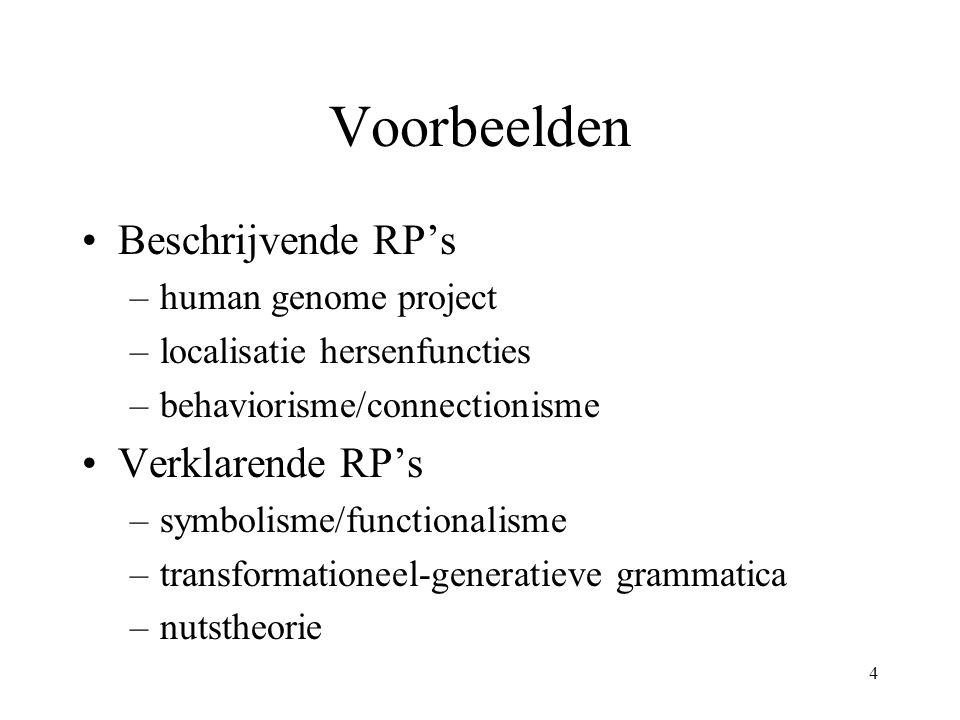 4 Voorbeelden Beschrijvende RP's –human genome project –localisatie hersenfuncties –behaviorisme/connectionisme Verklarende RP's –symbolisme/functionalisme –transformationeel-generatieve grammatica –nutstheorie
