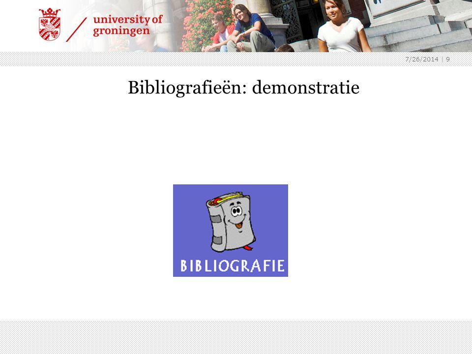 7/26/2014 | 9 Bibliografieën: demonstratie