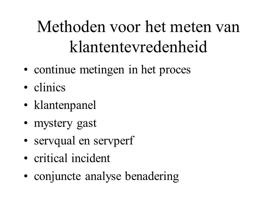 Methoden voor het meten van klantentevredenheid continue metingen in het proces clinics klantenpanel mystery gast servqual en servperf critical incident conjuncte analyse benadering