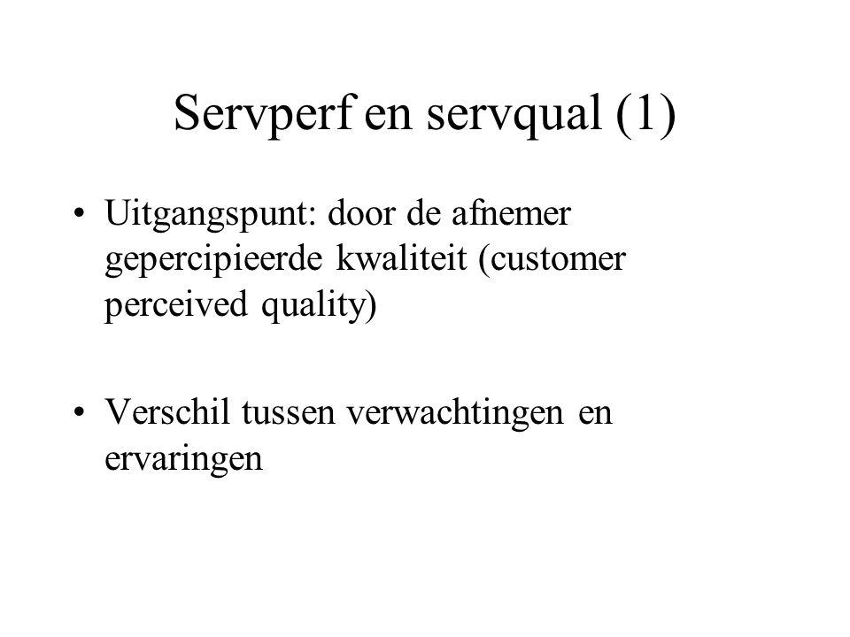 Servperf en servqual (1) Uitgangspunt: door de afnemer gepercipieerde kwaliteit (customer perceived quality) Verschil tussen verwachtingen en ervaringen