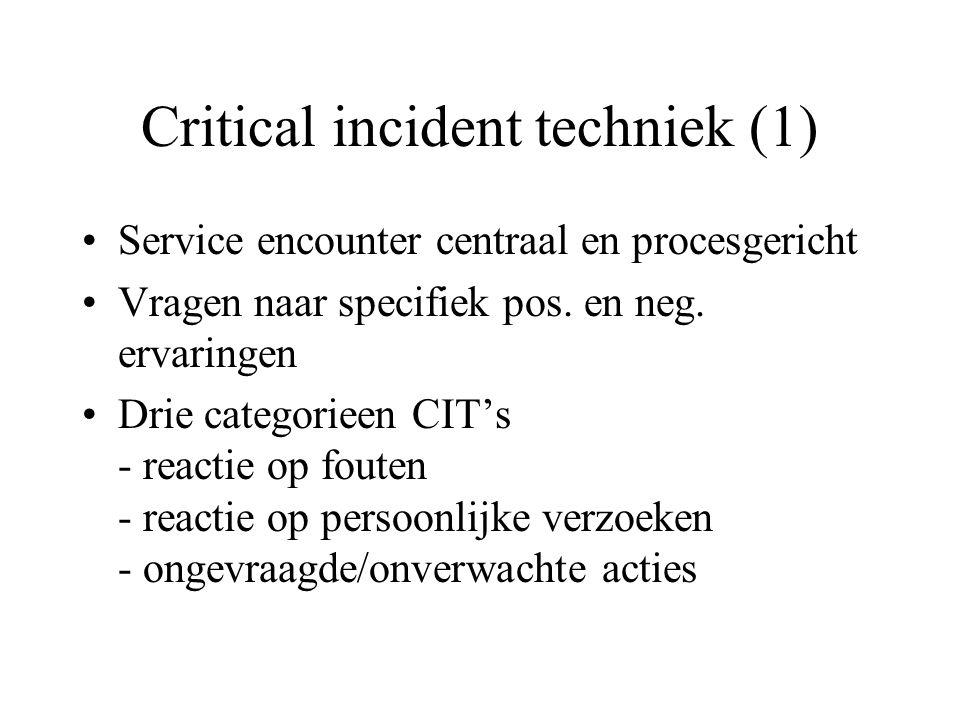Critical incident techniek (2) Voordeel: - beschrijven van proces - veel aspecten en sequenti Nadelen: - generaliseerbaarheid en betrouwbaarheid - beperkt deel van de dienst - bijdrage van kenmerk aan overall kwaliteit