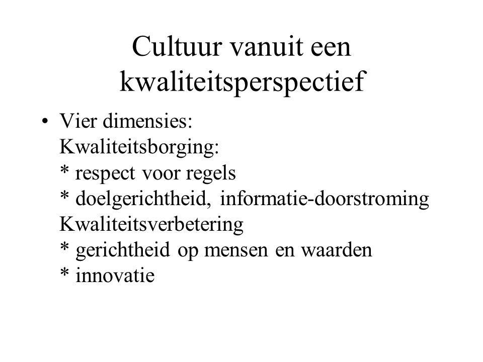 Cultuur vanuit een kwaliteitsperspectief Vier dimensies: Kwaliteitsborging: * respect voor regels * doelgerichtheid, informatie-doorstroming Kwaliteit