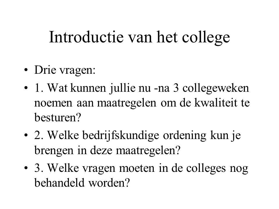 Introductie van het college Drie vragen: 1. Wat kunnen jullie nu -na 3 collegeweken noemen aan maatregelen om de kwaliteit te besturen? 2. Welke bedri