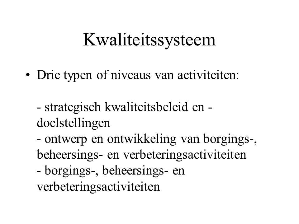 Kwaliteitssysteem Drie typen of niveaus van activiteiten: - strategisch kwaliteitsbeleid en - doelstellingen - ontwerp en ontwikkeling van borgings-,