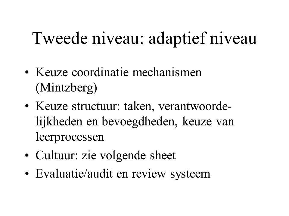 Tweede niveau: adaptief niveau Keuze coordinatie mechanismen (Mintzberg) Keuze structuur: taken, verantwoorde- lijkheden en bevoegdheden, keuze van le