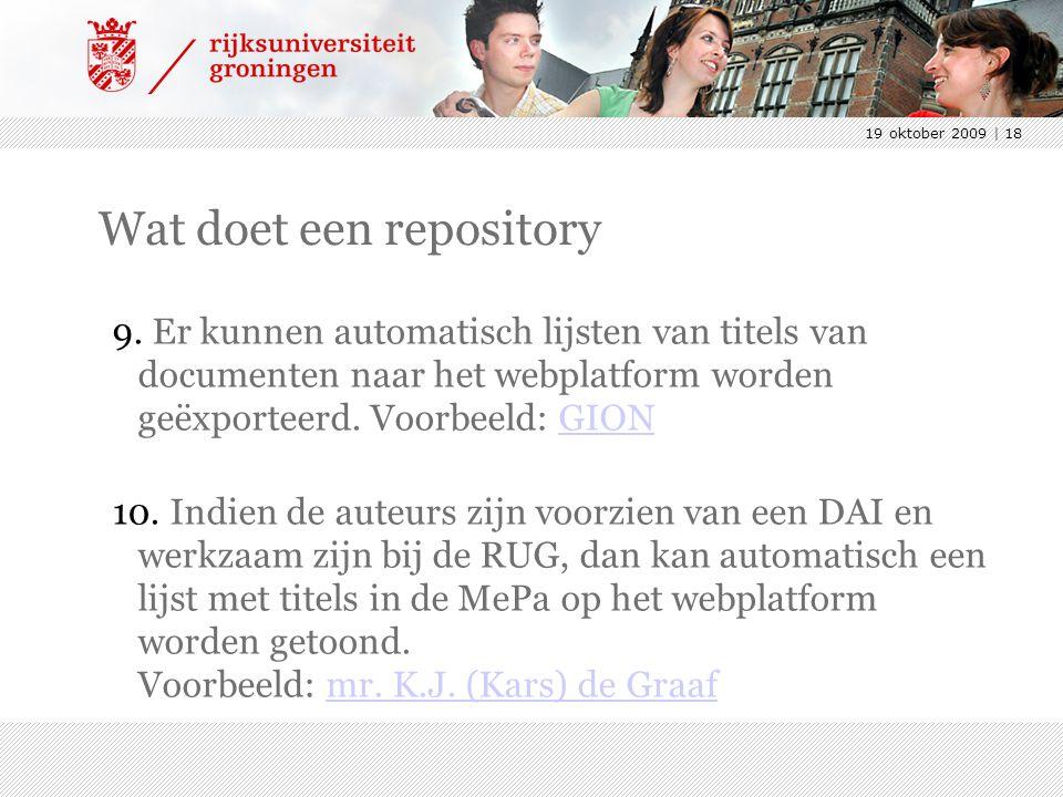 19 oktober 2009 | 18 Wat doet een repository 9.