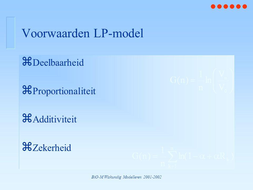 BiO-M Wiskundig Modelleren 2001-2002 Voorwaarden LP-model z Deelbaarheid z Proportionaliteit z Additiviteit z Zekerheid