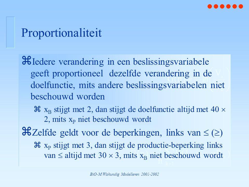 BiO-M Wiskundig Modelleren 2001-2002 Proportionaliteit z Iedere verandering in een beslissingsvariabele geeft proportioneel dezelfde verandering in de