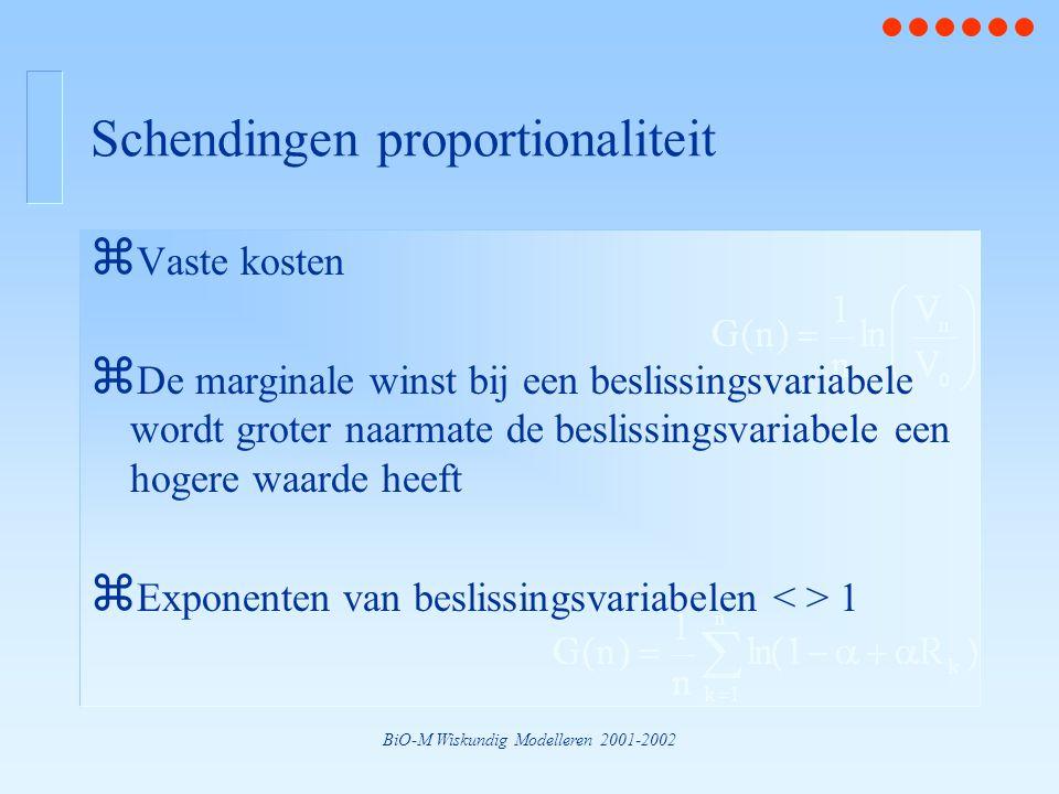 BiO-M Wiskundig Modelleren 2001-2002 Schendingen proportionaliteit z Vaste kosten z De marginale winst bij een beslissingsvariabele wordt groter naarmate de beslissingsvariabele een hogere waarde heeft z Exponenten van beslissingsvariabelen 1