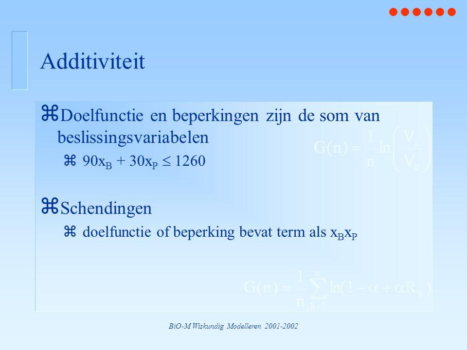 BiO-M Wiskundig Modelleren 2001-2002 Additiviteit z Doelfunctie en beperkingen zijn de som van beslissingsvariabelen z90x B + 30x P  1260 z Schendingen zdoelfunctie of beperking bevat term als x B x P