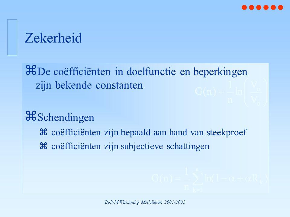 BiO-M Wiskundig Modelleren 2001-2002 Zekerheid z De coëfficiënten in doelfunctie en beperkingen zijn bekende constanten z Schendingen zcoëfficiënten z