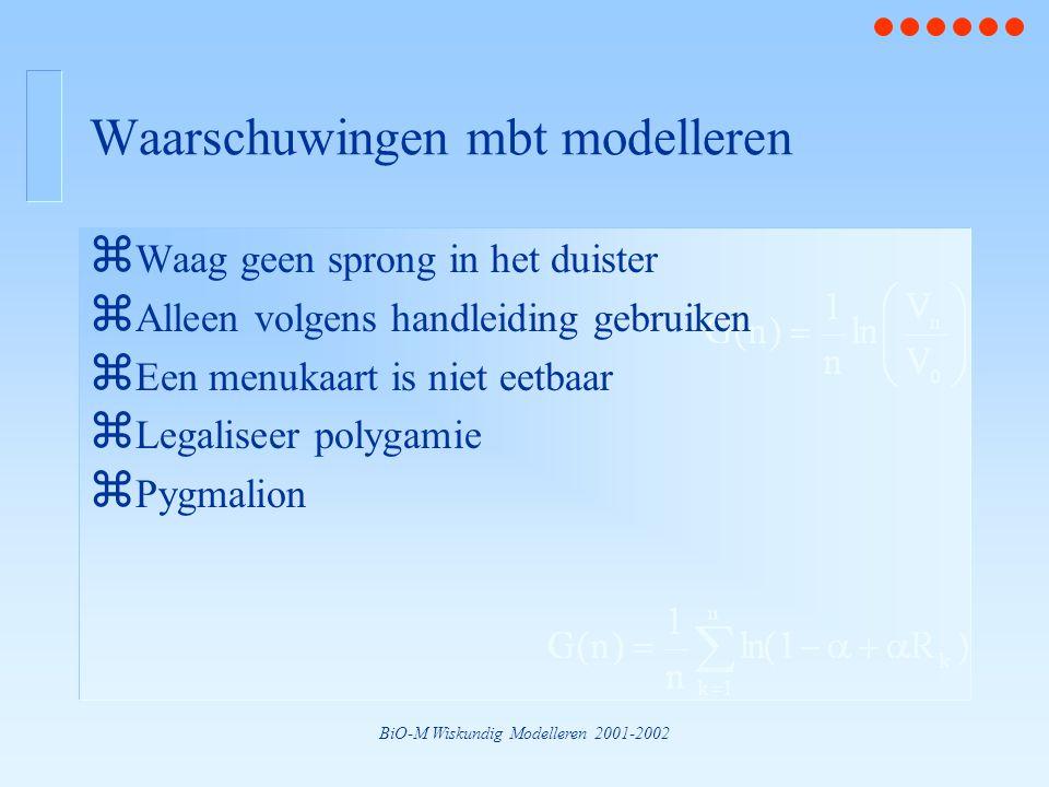 BiO-M Wiskundig Modelleren 2001-2002 Waarschuwingen mbt modelleren z Waag geen sprong in het duister z Alleen volgens handleiding gebruiken z Een menu