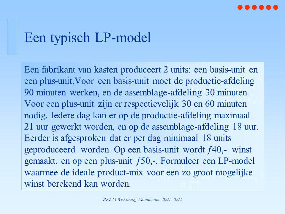 BiO-M Wiskundig Modelleren 2001-2002 Een typisch LP-model Een fabrikant van kasten produceert 2 units: een basis-unit en een plus-unit.Voor een basis-unit moet de productie-afdeling 90 minuten werken, en de assemblage-afdeling 30 minuten.