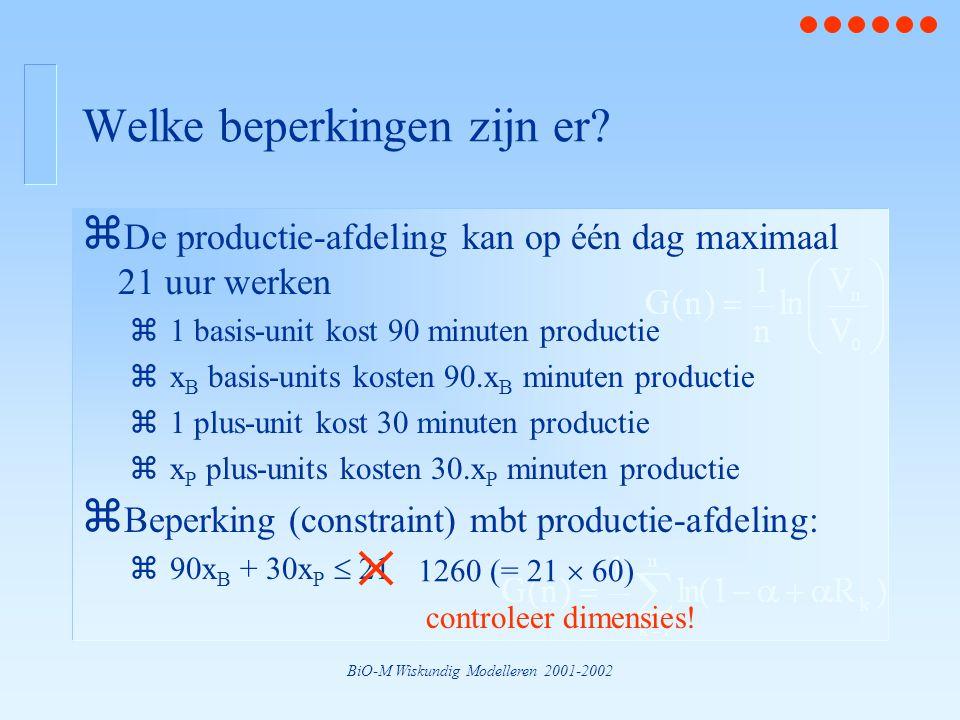 BiO-M Wiskundig Modelleren 2001-2002 Welke beperkingen zijn er? z De productie-afdeling kan op één dag maximaal 21 uur werken z1 basis-unit kost 90 mi