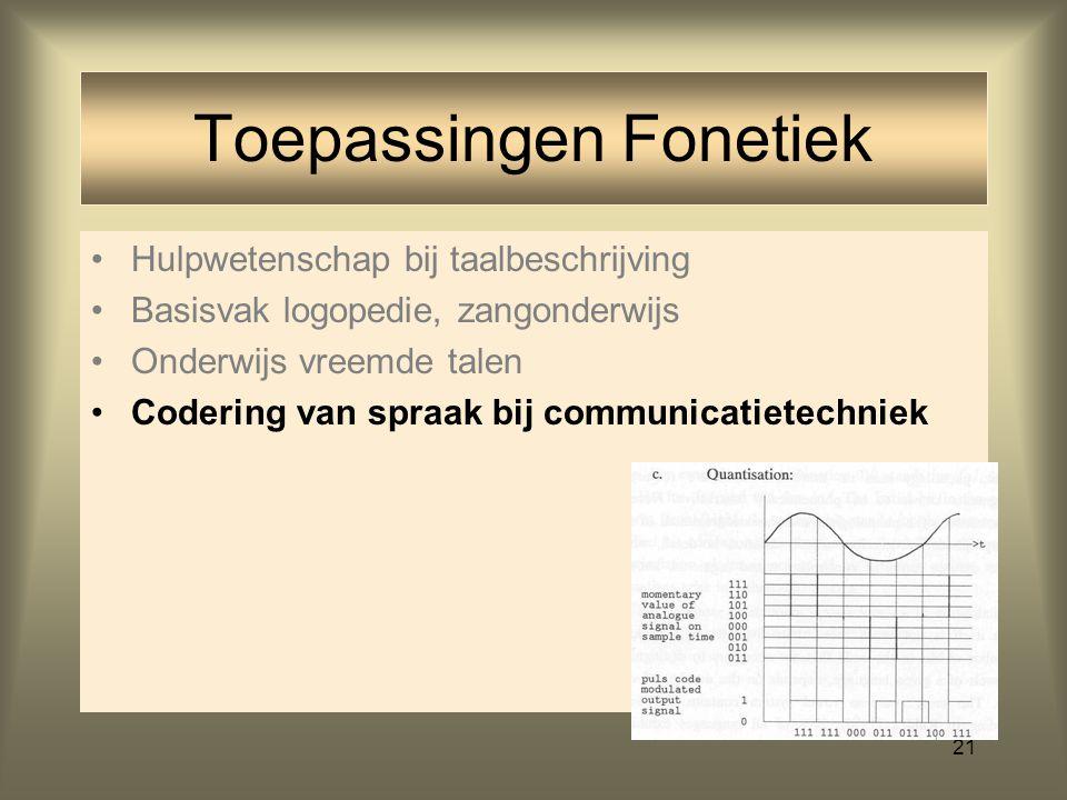 20 Hulpwetenschap bij taalbeschrijving Basisvak logopedie, zangonderwijs Onderwijs vreemde talen Toepassingen Fonetiek