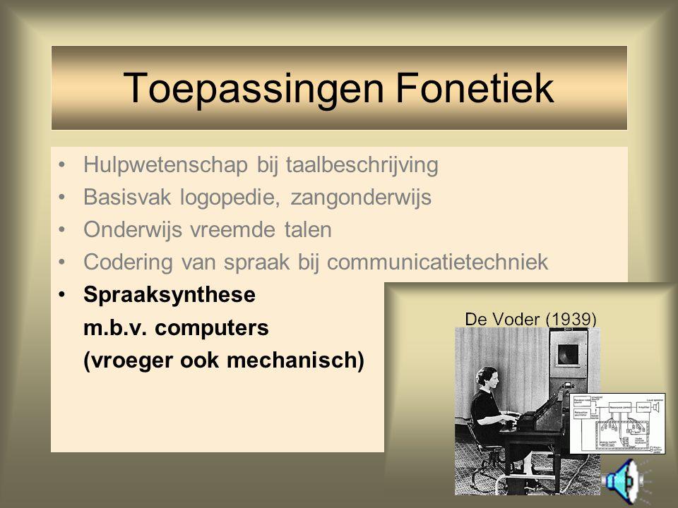 21 Hulpwetenschap bij taalbeschrijving Basisvak logopedie, zangonderwijs Onderwijs vreemde talen Codering van spraak bij communicatietechniek Toepassi