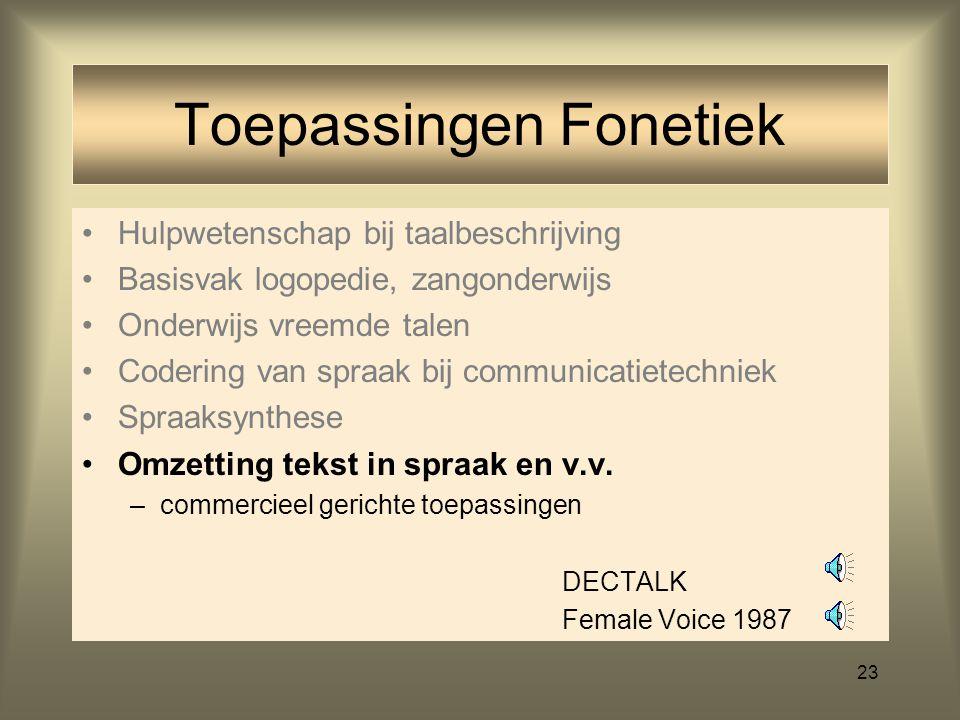 22 Hulpwetenschap bij taalbeschrijving Basisvak logopedie, zangonderwijs Onderwijs vreemde talen Codering van spraak bij communicatietechniek Spraaksy