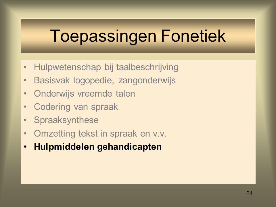 23 Hulpwetenschap bij taalbeschrijving Basisvak logopedie, zangonderwijs Onderwijs vreemde talen Codering van spraak bij communicatietechniek Spraaksy