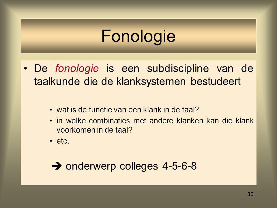 29 Hulpwetenschap bij de fonologie –Hulpmiddel bij de beschrijving van de klankeninventaris van een taal (hier: het Nederlands) met een reeks symbolen