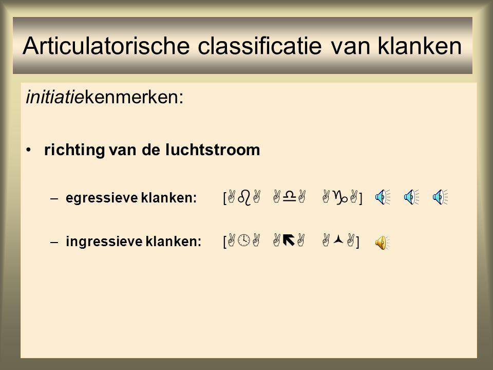 42 Articulatorische classificatie van klanken initiatiekenmerken: richting van de luchtstroom De meeste talen kennen alleen klanken die met een naar b