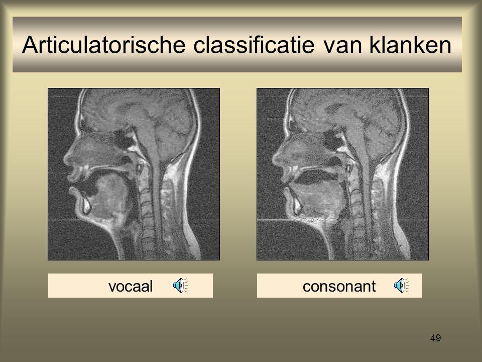 48 (supra)laryngale kenmerken: constrictie (vocaal vs. consonant) Consonanten/medeklinkers: klanken die gemaakt worden door ergens in de mond-keelholt