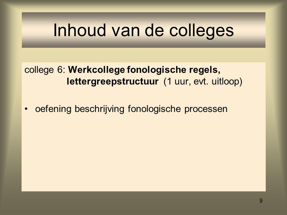 9 college 6: Werkcollege fonologische regels, lettergreepstructuur (1 uur, evt.