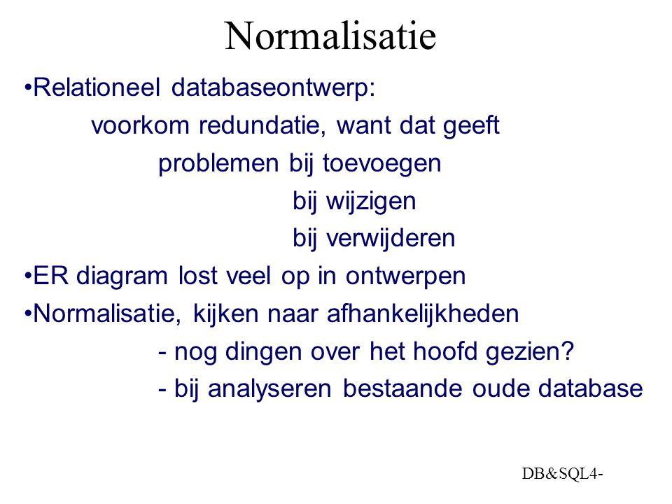 DB&SQL4- Normalisatie Relationeel databaseontwerp: voorkom redundatie, want dat geeft problemen bij toevoegen bij wijzigen bij verwijderen ER diagram