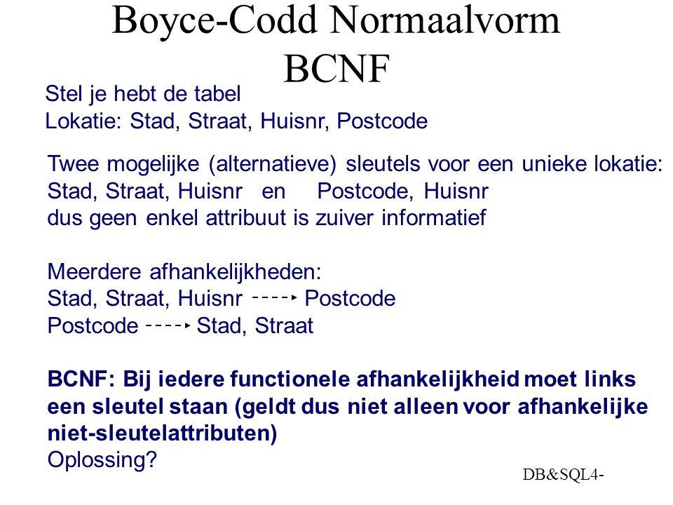 DB&SQL4- Boyce-Codd Normaalvorm BCNF Stel je hebt de tabel Lokatie: Stad, Straat, Huisnr, Postcode Twee mogelijke (alternatieve) sleutels voor een uni