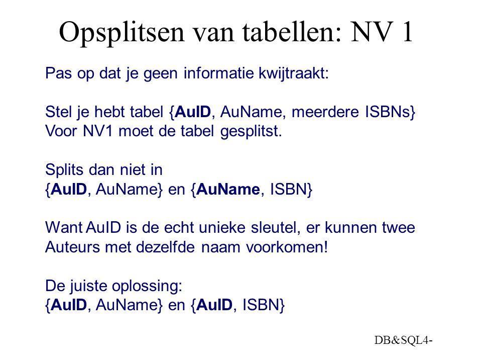 DB&SQL4- Opsplitsen van tabellen: NV 1 Pas op dat je geen informatie kwijtraakt: Stel je hebt tabel {AuID, AuName, meerdere ISBNs} Voor NV1 moet de ta