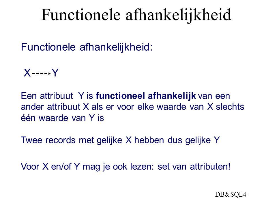 DB&SQL4- Functionele afhankelijkheid Functionele afhankelijkheid: X Y Een attribuut Y is functioneel afhankelijk van een ander attribuut X als er voor