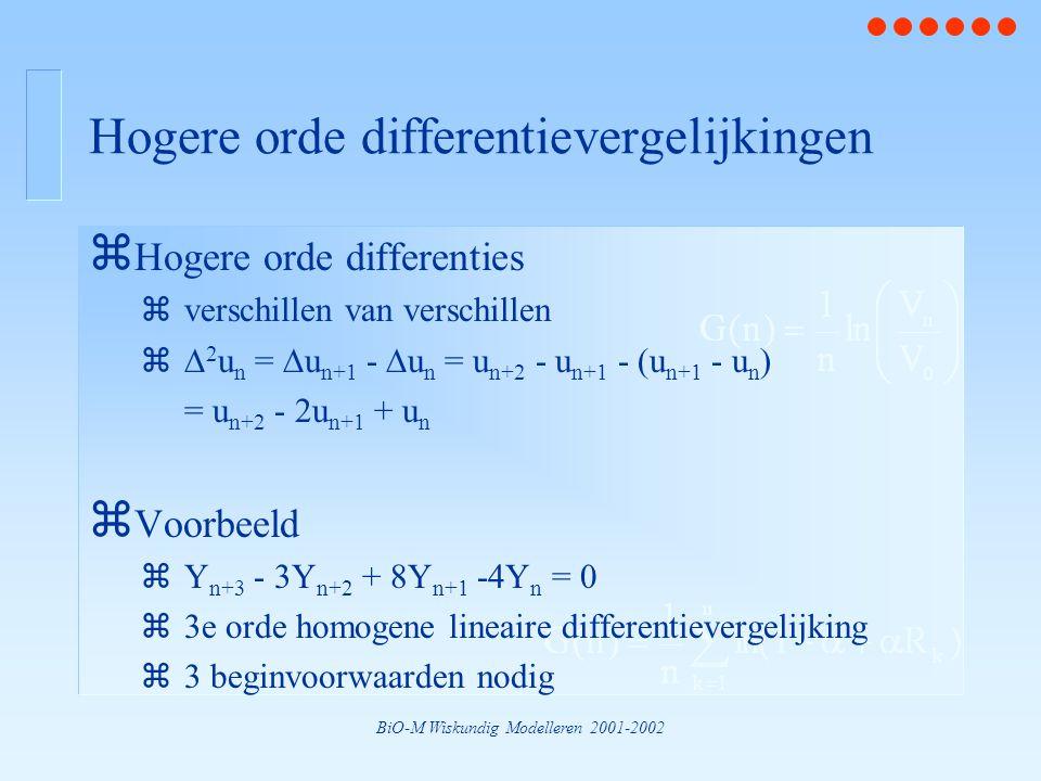 BiO-M Wiskundig Modelleren 2001-2002 Hogere orde differentievergelijkingen z Hogere orde differenties zverschillen van verschillen z  2 u n =  u n+1 -  u n = u n+2 - u n+1 - (u n+1 - u n ) = u n+2 - 2u n+1 + u n z Voorbeeld zY n+3 - 3Y n+2 + 8Y n+1 -4Y n = 0 z3e orde homogene lineaire differentievergelijking z3 beginvoorwaarden nodig