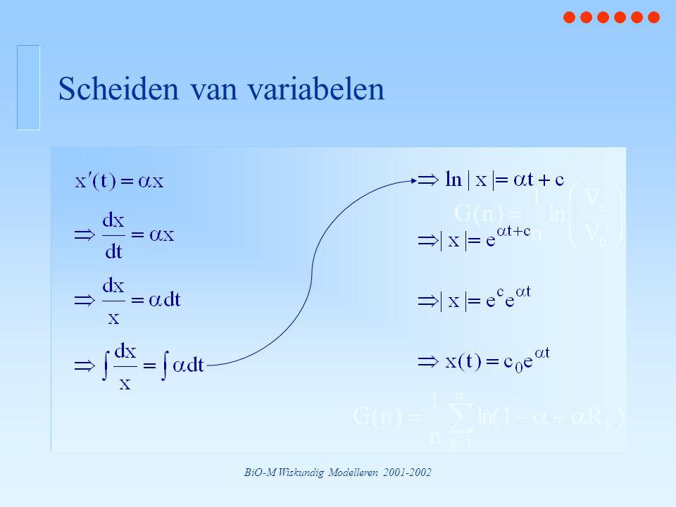BiO-M Wiskundig Modelleren 2001-2002 Scheiden van variabelen