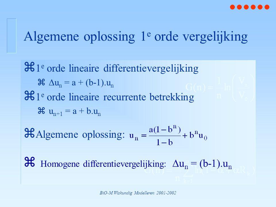 BiO-M Wiskundig Modelleren 2001-2002 Algemene oplossing 1 e orde vergelijking z 1 e orde lineaire differentievergelijking z  u n = a + (b-1).u n z 1 e orde lineaire recurrente betrekking zu n+1 = a + b.u n z Algemene oplossing:  Homogene differentievergelijking:  u n = (b-1).u n