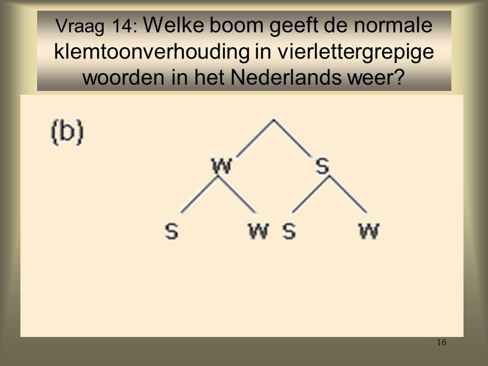 16 Vraag 14: Welke boom geeft de normale klemtoonverhouding in vierlettergrepige woorden in het Nederlands weer?