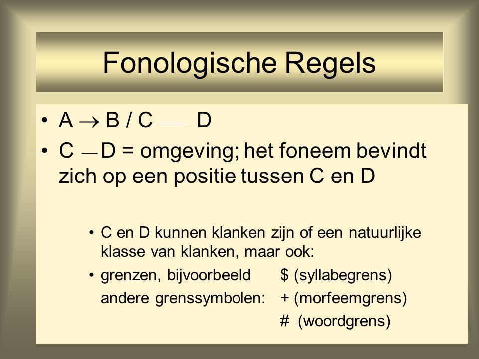 19 Fonologische Regels A  B / C D C D = omgeving; het foneem bevindt zich op een positie tussen C en D C en D kunnen klanken zijn of een natuurlijke klasse van klanken, maar ook: grenzen, bijvoorbeeld $ (syllabegrens) andere grenssymbolen: + (morfeemgrens) # (woordgrens)
